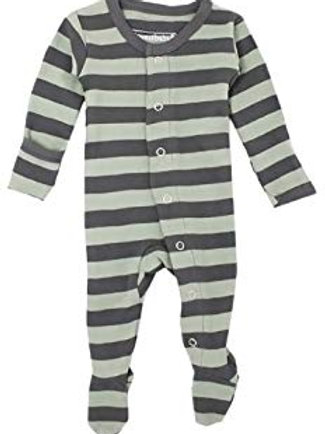 L'ovedbaby Footed Overall Gray/Seafoam Stripe