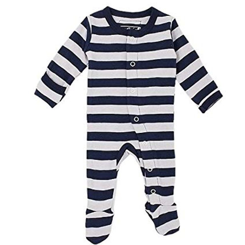 L'ovedbaby Footed Overall Navy/Light Gray Stripe