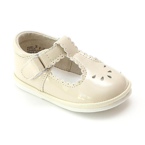 Angel Baby T-Strap Shoe Cream Patent Scalloped