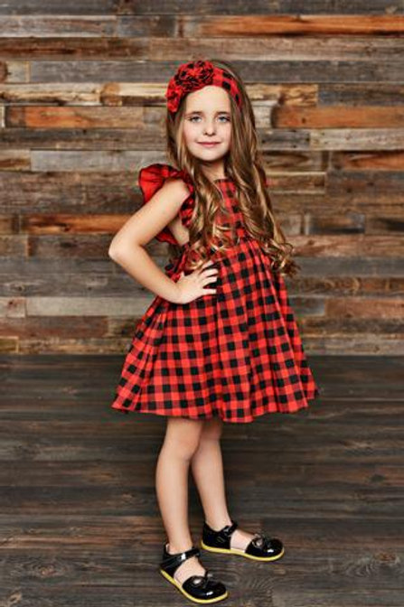 Serendipity Farmhouse Buffalo Plaid Pinafore Dress 19-47