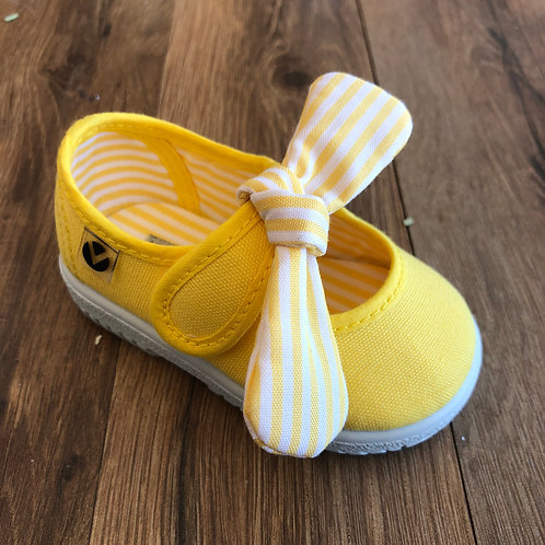 Victoria Yellow Stripe Bow MaryJane