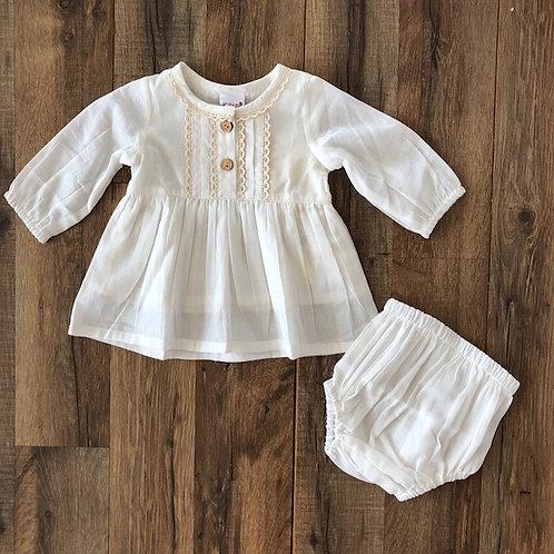 Yo Baby Ivory Dress and Bloomer Set