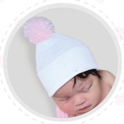 ilybean White Hat with Pink Pom