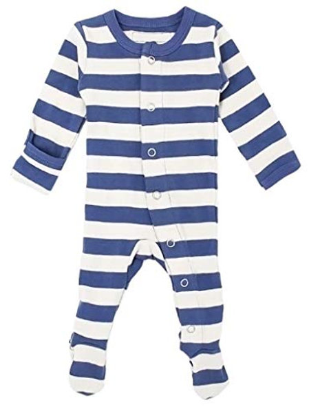 L'ovedbaby Footed Overall Slate/Beige Stripe