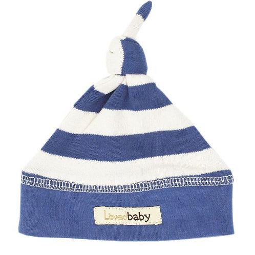 L'ovedbaby Top Knot Hat Slate/Beige Stripe