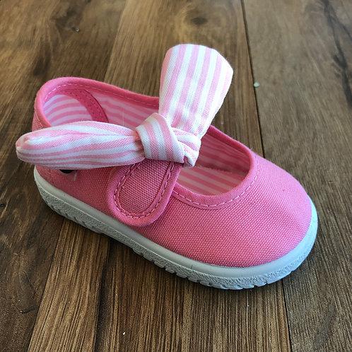 Victoria Pink Stripe Bow MaryJane