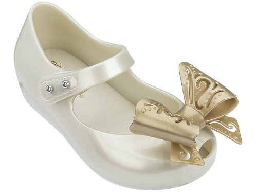 Mini Melissa Ultragirl Pearl Gold Butterfly Shoe