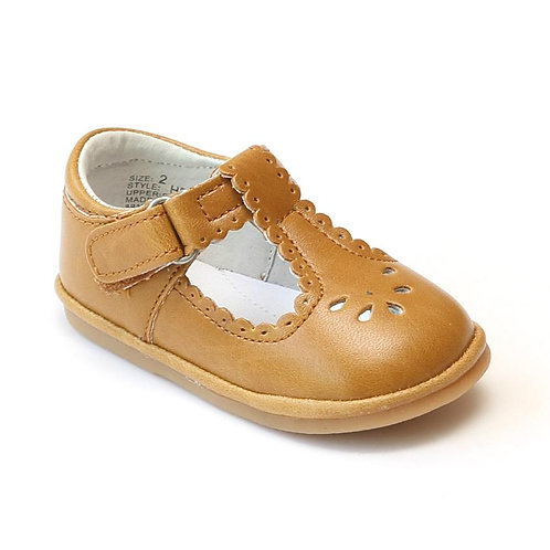 Angel Baby T-Strap Shoe Spicy Mustard Scalloped H210