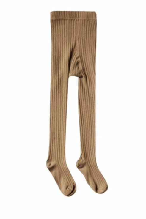 Rylee + Cru Solid Ribbed Tights Caramel