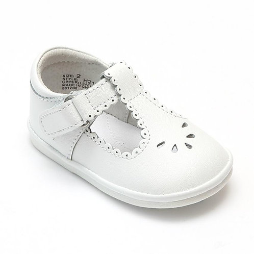 Angel Baby T-Strap Shoe White Scalloped