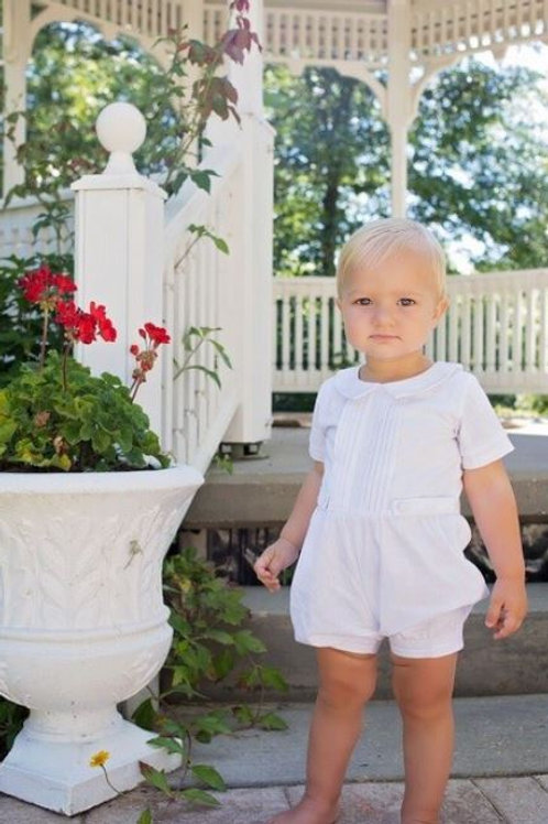 Evie's Closet Boys Pleated Romper White
