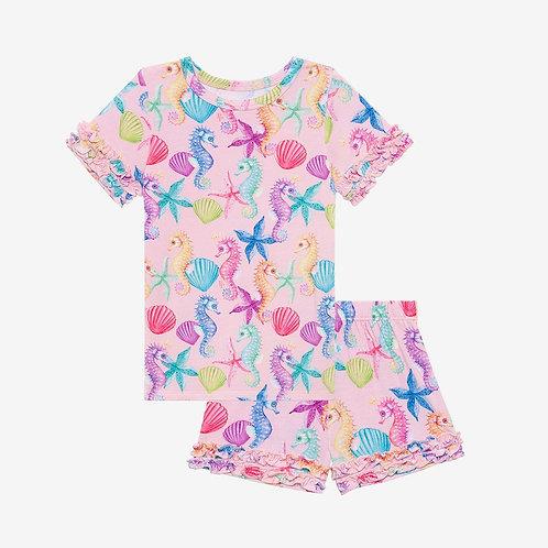 Posh Peanut Coral Basic Short Sleeve Micro Ruffled T Shirt and Shorts PJ Set