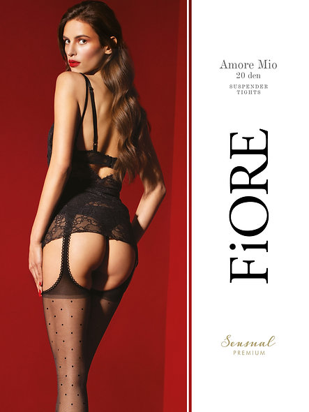 Amore Mio Netherlands Suspenders 20 Den - Black - Premium Quality