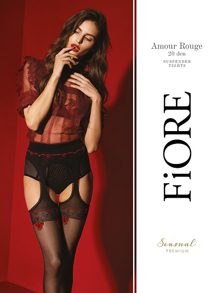 Love Red Garter Low 20 Den - Red And Black - Premium Quality