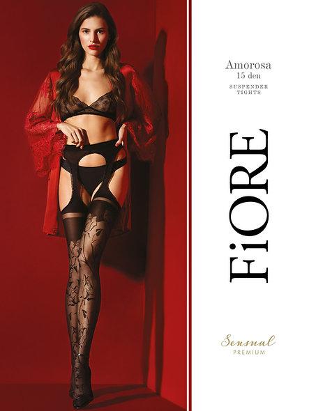 Amorosa Netherlands Suspenders 30 Den - Black - Premium Quality