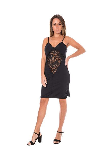 Dress Inset Lace Cocktail - Black
