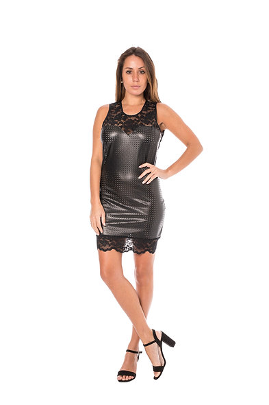 Dress Cocktail Faux Leather - Black
