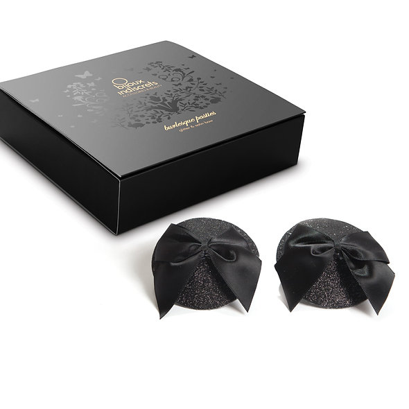 Pasties Burlesque Bow And Sequins - Black