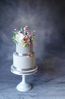 Lisa Adams grey wedding cake with flower