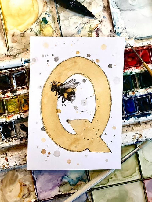 Q is for Queen Bee | Original Ink & Watercolour