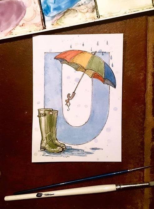 U is for Umbrella | Original Ink & Watercolour