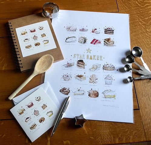 'Star Baker' Gift Set   Print, Notebook & Card