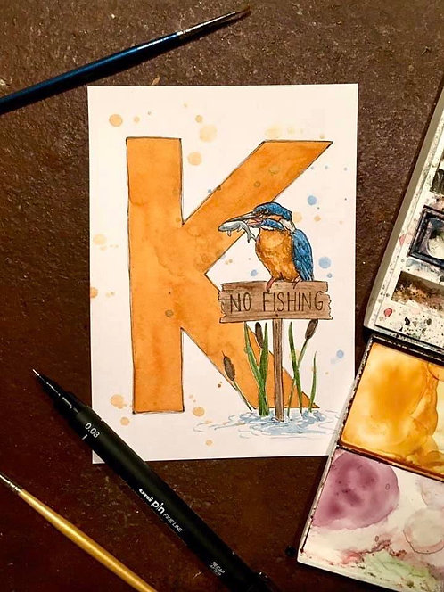 K is for Kingfisher | Original Ink & Watercolour