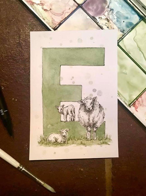 E is for Ewe | Original Ink & Watercolour