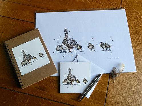 'Mother Duck' Gift Set | Print, Notebook & Card