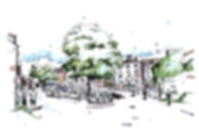 Grassington Square, Ink & Watercolour Painting Drawing, Eleanor Tomlinson