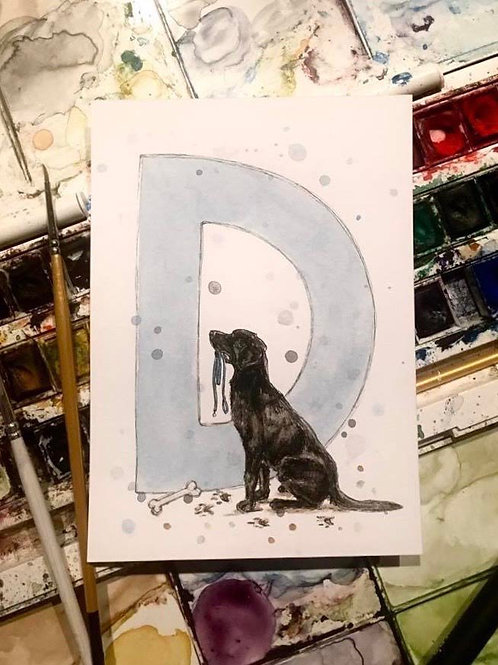 D is for Dog | Original Ink & Watercolour