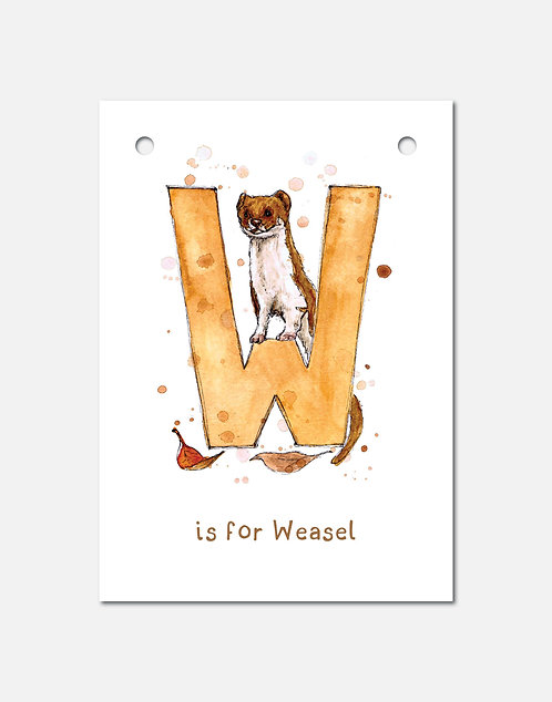 W is for Weasel | Alphabet Bunting