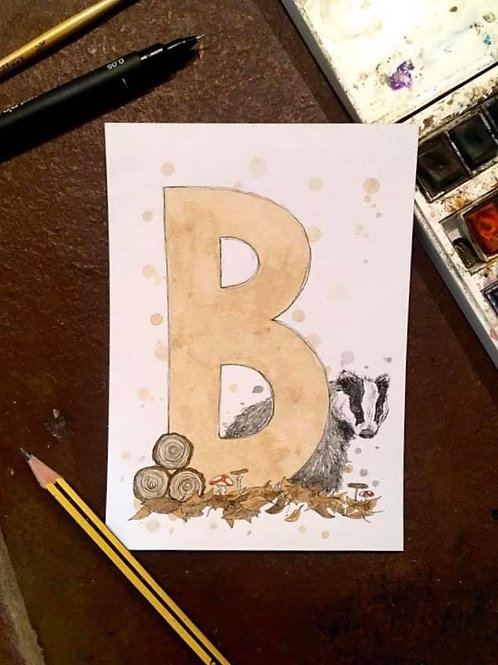 B is for Badger | Original Ink & Watercolour