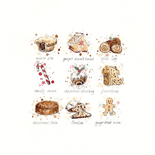 Christmas Bakes | Original Ink & Watercolour