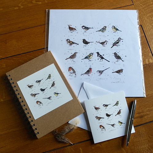 'Garden Birds' Gift Set | Print, Notebook & Card