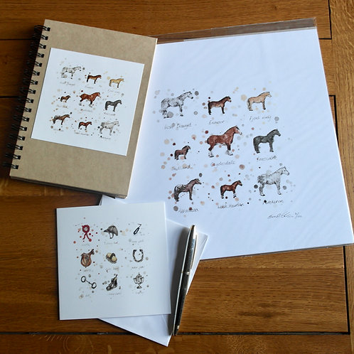 'Horses' Gift Set | Print, Notebook & Card