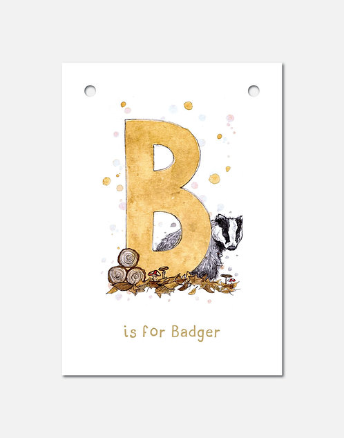 B is for Badger | Alphabet Bunting