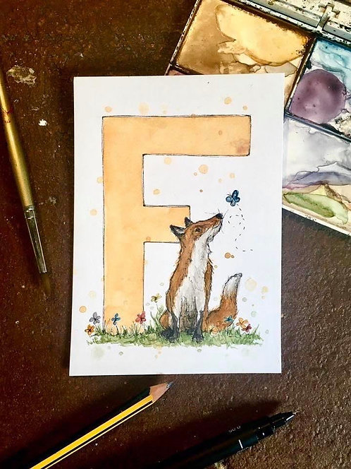 F is for Fox | Original Ink & Watercolour