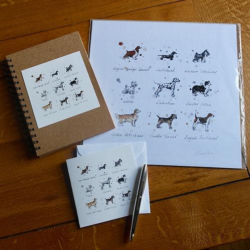 'Dog Breeds' Gift Set | Print, Notebook & Card