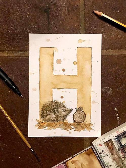 H is for Hedgehog | Original Ink & Watercolour