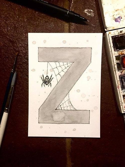 Z is for Zebra Spider | Original Ink & Watercolour