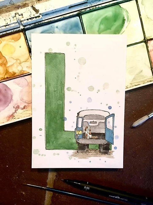 L is for Land Rover | Original Ink & Watercolour