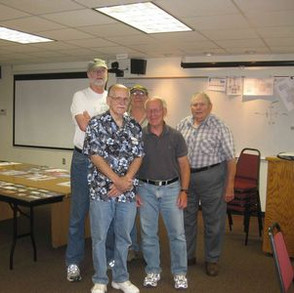 Here is most of the crew, all of whom are experienced amateur radio operators. Names and federally-assigned call signs left-to-right are: Mike Pagel, K9UW; Rob Lyon, N8BQV; Mike Gorniak, NM7X; Todd Fonstad, N9NE; and Art Wysocki, N9BCA.