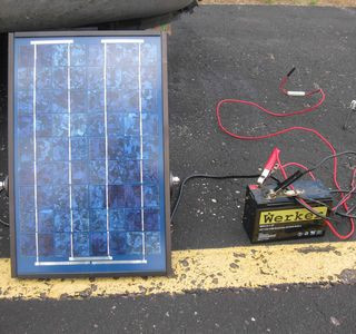 A portable solar panel charges a small 12 volt battery which was used to make Morse code contacts during the event. This system could prove invaluable in an emergency if commercial power were not available.