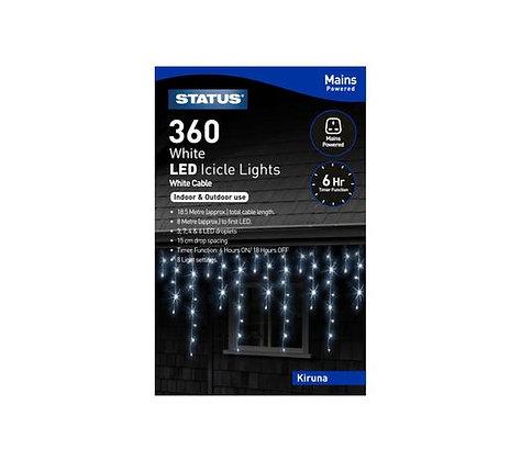 Status Kiruna 360 White LED  Icicle Lights