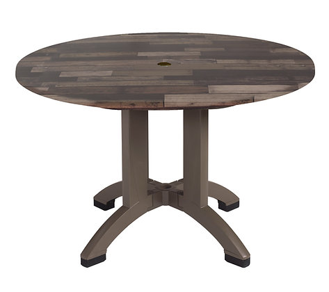 "Atlanta 42"" Round Shiplap Decor Table with Bronze Legs"