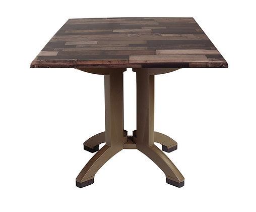 "Atlanta 32"" Square Shiplap Decor Table with Bronze Legs"