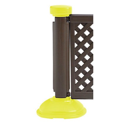 Crowd Control Fence Posts (Interlocking Base) Brown and Safety Yellow