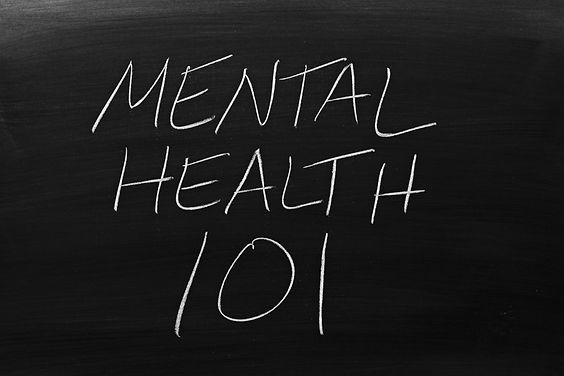 The words _Mental Health 101_ on a black