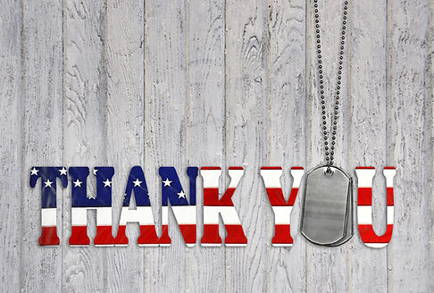 military dog tag thank you with flag fon